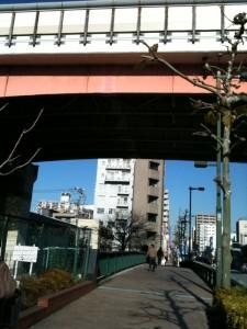 首都高7号線の下を通り過ぎます。